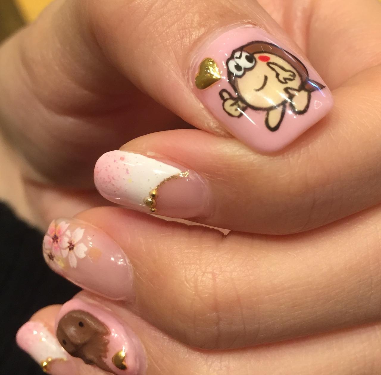 画像: カブトガニ博物館ネイル、親指はゆるキャラのカブニくんです。