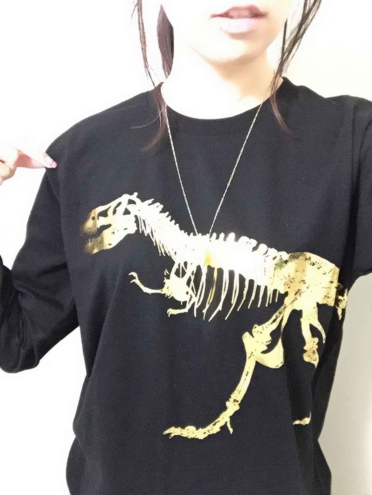 画像: 恐竜ロンTを着てみました。