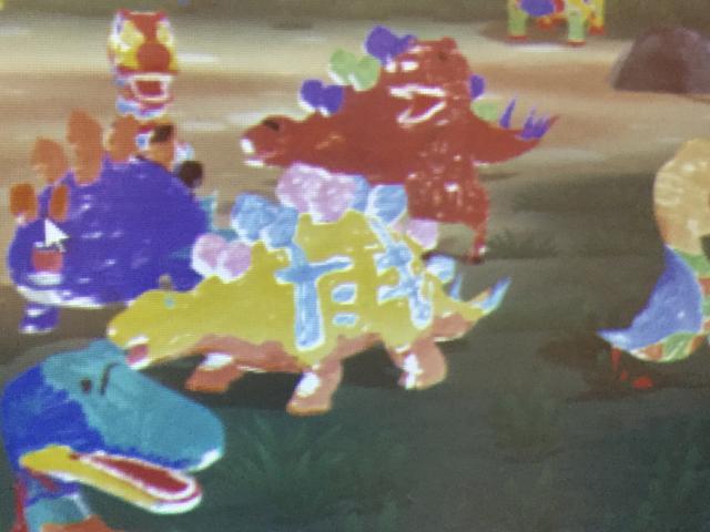 画像: 黄色いステゴサウルスが生田晴香が塗ったやつです。