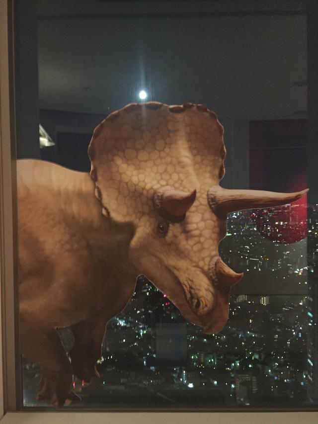画像: 窓に恐竜が!