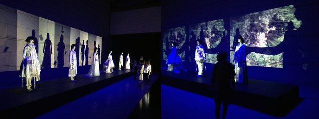 画像: SAYOKOマネキンが衣装をまとう空間に映像が投影され、鑑賞者の影も作品に取り込まれます。