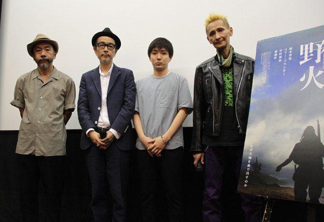 画像: 舞台挨拶に立った(左から)塚本晋也監督、 リリー・フランキー、森優作、石川忠 http://eiga.com/news/20150725/5/