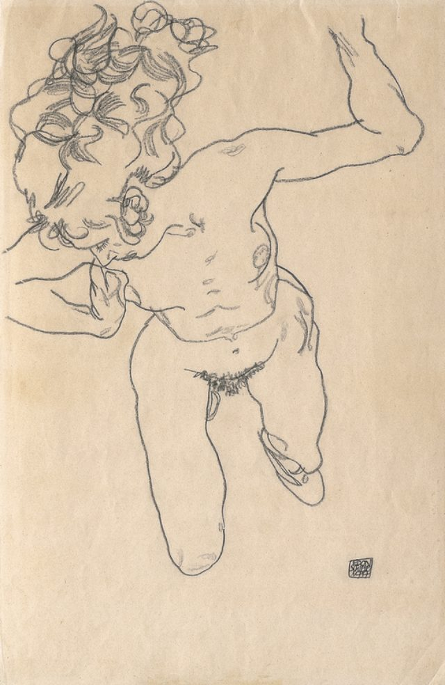 画像: Egon Schiele, Laying (»Falling«) Woman with Long Hair, 1917 © Leopold, Private
