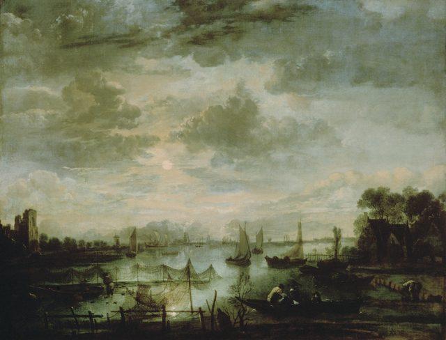 画像: アールト・ファン・デル・ネール 《月明かりの下の船のある川の風景》 1665-70 年頃 油彩・キャンヴァス