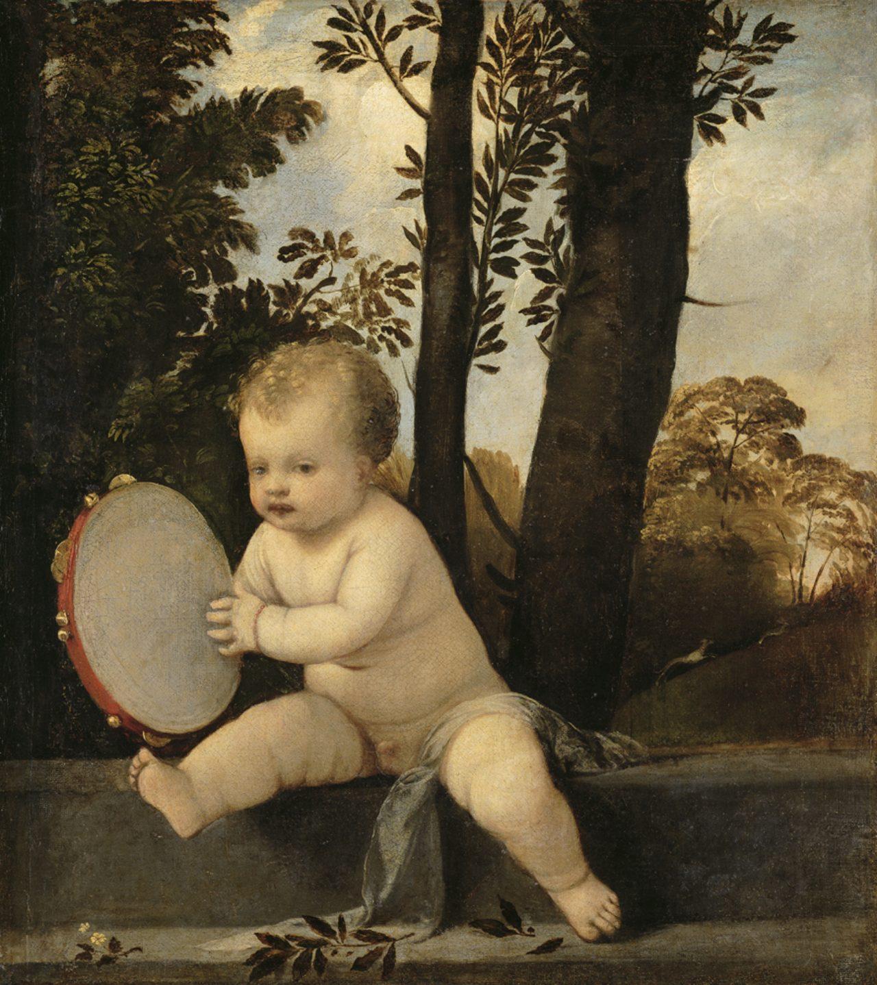 画像: ティツィアーノ・ヴェチェッリオ 《タンバリンを演奏する子ども》 1510-15 年頃 油彩・キャンヴァス