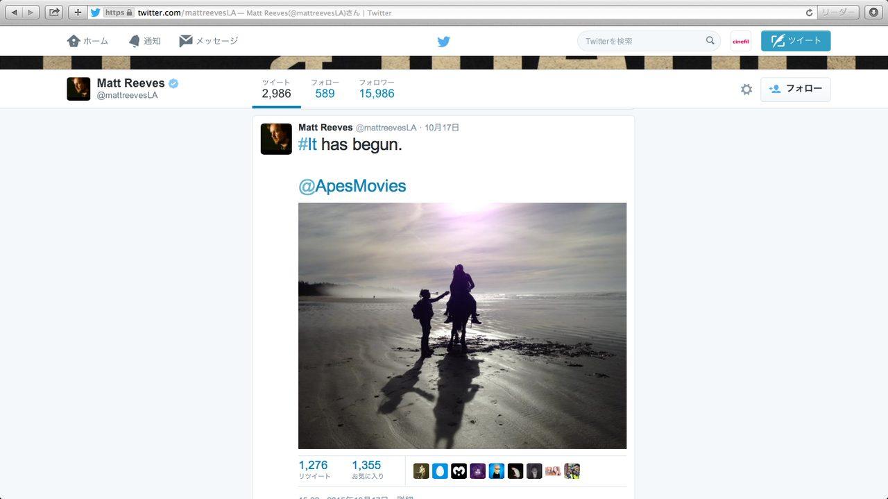 画像2: マット・リーブス監督 ツイッターでの公開写真--- 何故か、初代「猿の惑星」を思わせる