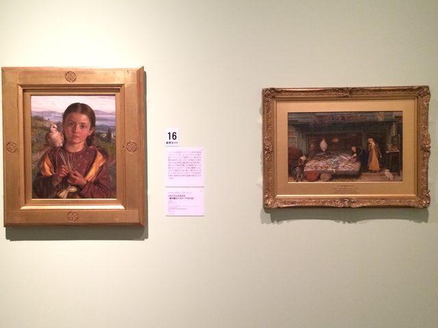 画像: 左:ウィリアム・ホルマン・ハント 《イタリア人の子ども(藁を編むトスカーナの少女)》 1869年 油彩・カンヴァス © Courtesy National Museums Liverpool, Walker Art Gallery 右:フレデリック・ウォーカー《魚屋の店》 1872年 水彩、グワッシュ・紙 © Courtesy National Museums Liverpool, Lady Lever Art Gallery