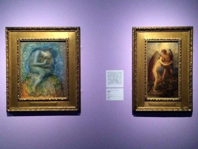 画像: 左:ジョージ・フレデリック・ワッツ《希望》のためのスケッチ 1877-86年頃 油彩・パネル © Courtesy National Museums Liverpool, Walker Art Gallery 右:ジョージ・フレデリック・ワッツ《愛と生》 1904年 油彩・カンヴァス © Courtesy National Museums Liverpool, Walker Art Gallery