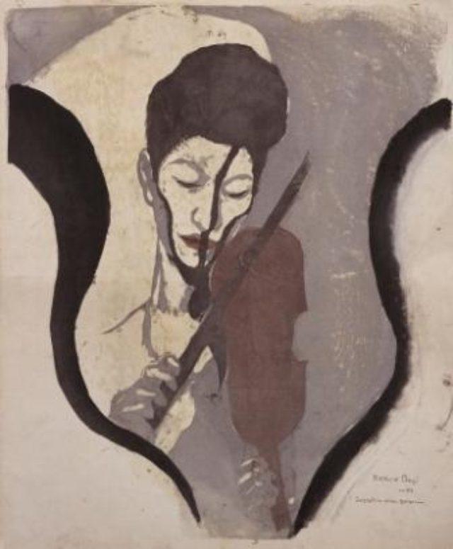 画像: 《あるヴァイオリニストの印象(諏訪根自子像)》1946、木版・紙、東京国立近代美術館