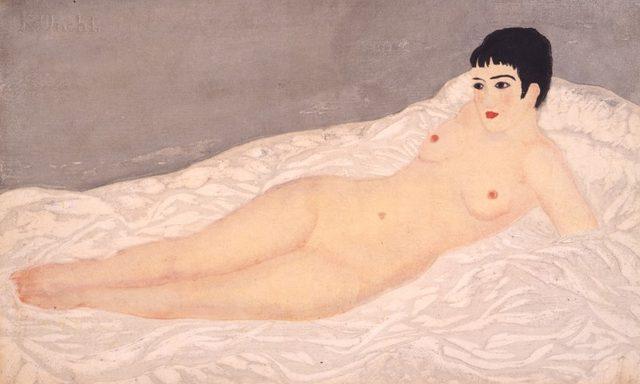 画像: 《裸膚白布》1928、木版・紙、ドゥファミリィ美術館