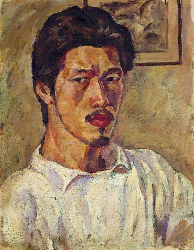 画像: 《自画像(ブルーズ)》1919頃、油彩・キャンバス、東京都現代美術館