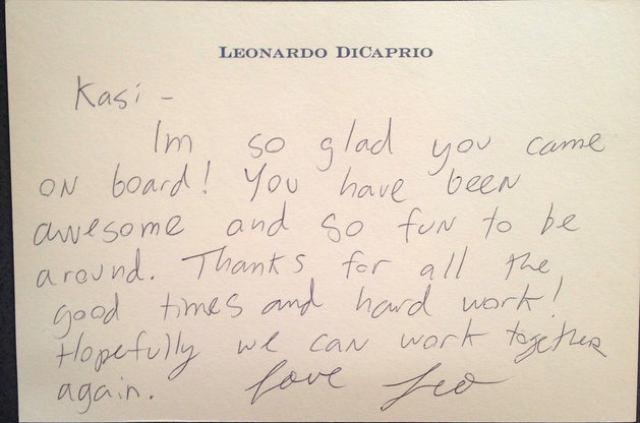 画像: ケーシーがアシスタントを辞めた時にディカプリオが彼女に宛てた手書きの手紙 www.huffingtonpost.com