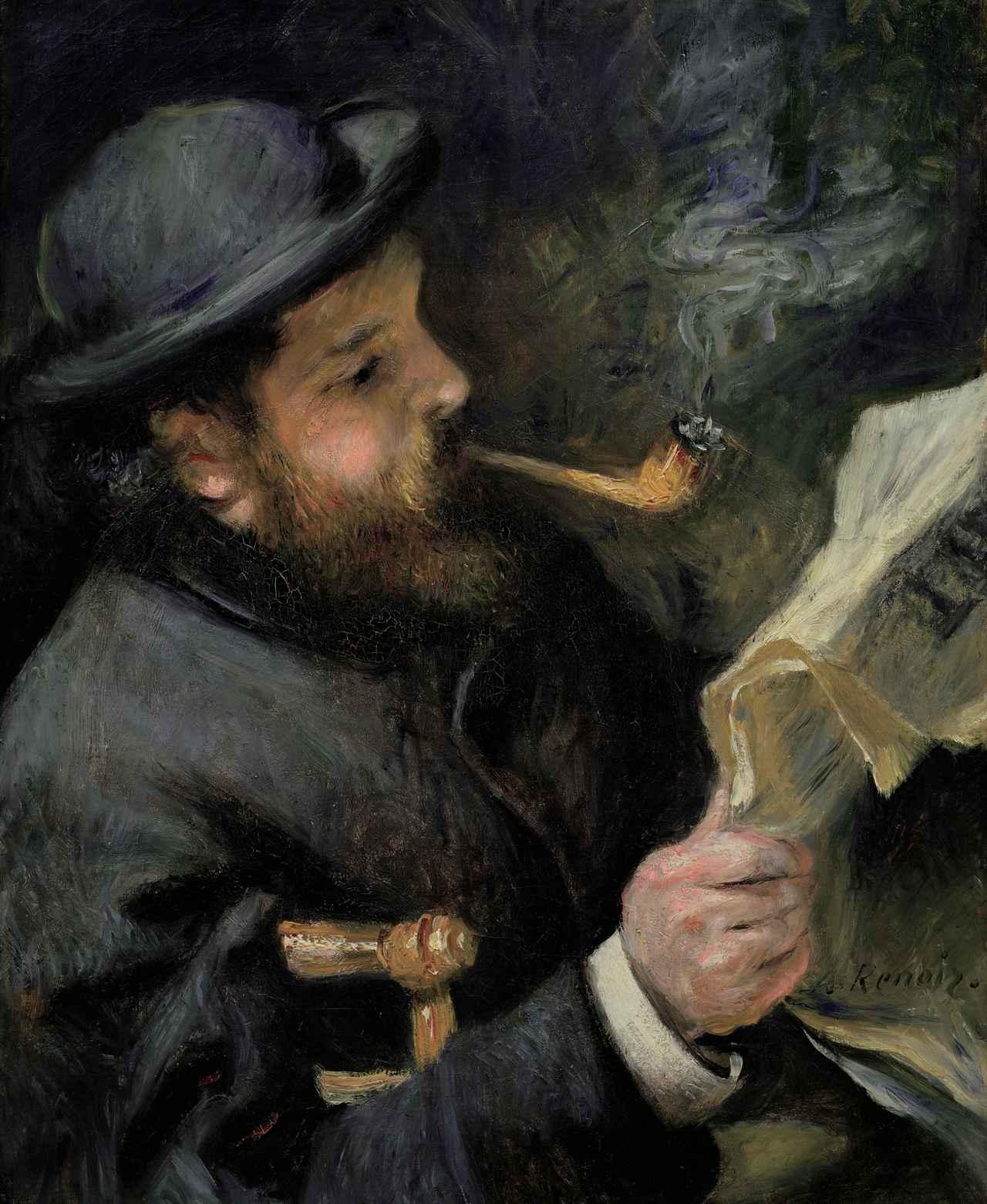 画像: ピエール=オーギュスト・ルノワール 《新聞を読むクロード・モネ》 1873年 Musée Marmottan Monet, Paris © Bridgeman-Giraudon