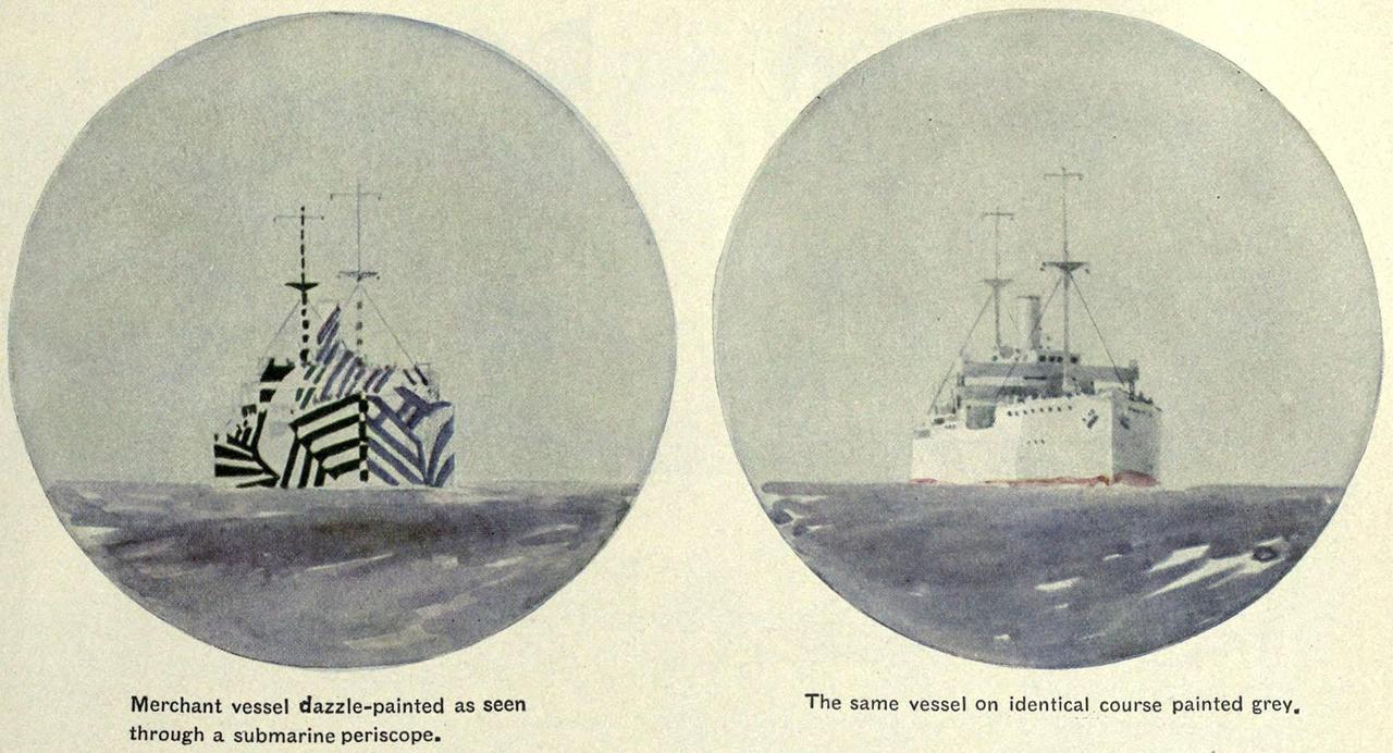 画像: 幻惑迷彩をほどこされた艦船は、艦首と艦尾の位置関係、またどこへ向かっているのかさえも分かりずらくなる。 en.wikipedia.org