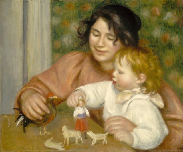 画像: ピエール=オーギュスト・ルノワール 《おもちゃで遊ぶ子ども、ガブリエルと画家の息子ジャン》 1895-1896年 油彩・カンヴァス、54.3 ×65.4cm ワシントン・ナショナル・ギャラリー Collection of Mr. and Mrs. Paul Mellon 1985.64.36 Courtesy National Gallery of Art, Washington