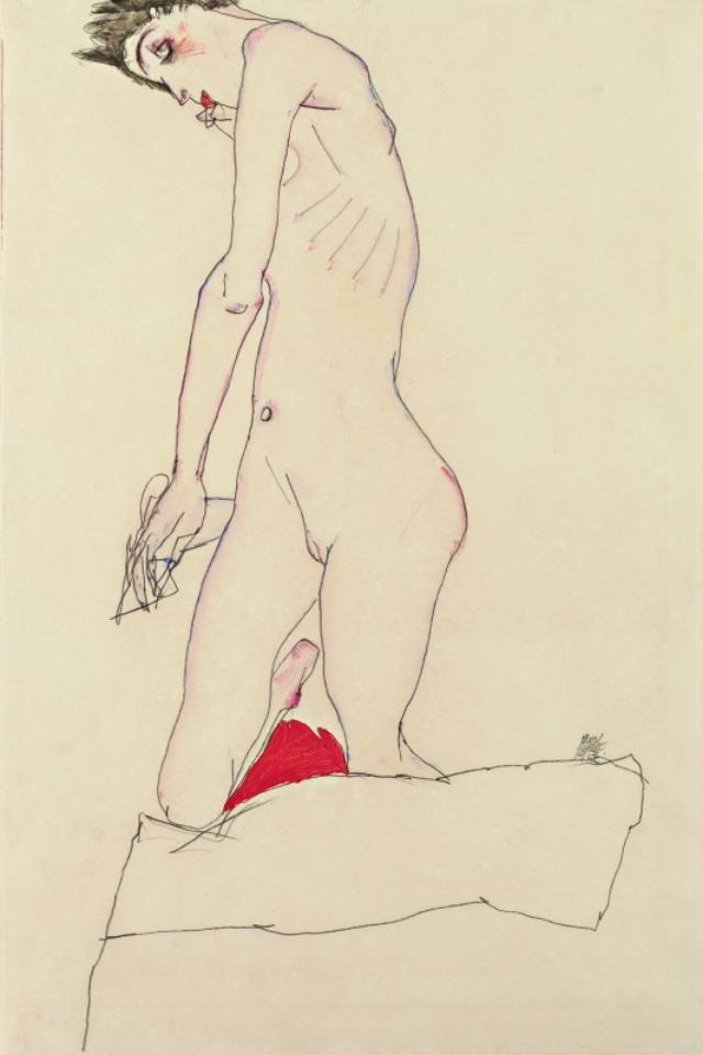 画像: EGON SCHIELE, Kniende, auf rotem Polster | 1913 © Leopold Museum, Wien,