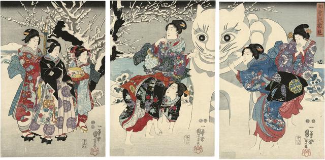 画像: 歌川国芳 「初雪の戯遊」