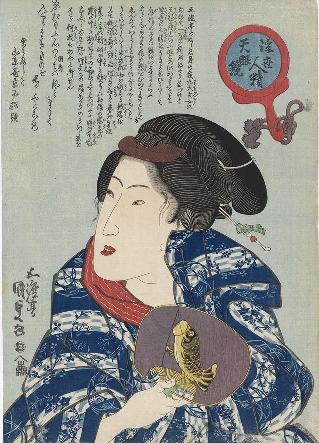 画像: 歌川国貞 「浮世人精天眼鏡」団扇