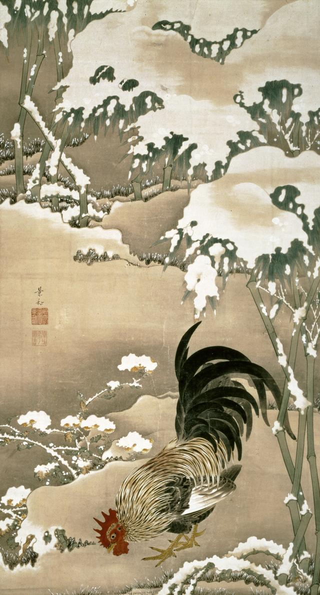 画像: 伊藤若冲 雪中雄鶏図
