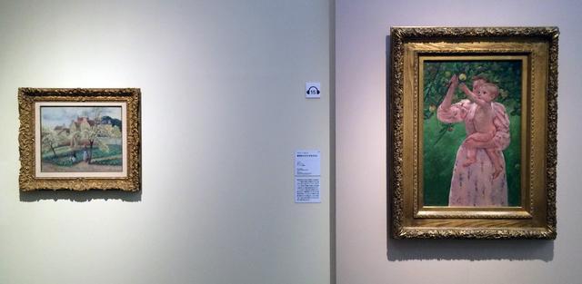 画像: 左:カミーユ・ピサロ《花咲くプラムの木》1889年頃 油彩、カンヴァス、姫路市立美術館蔵(國富奎三コレクション) 右:メアリー・カサット《果実をとろうとする子ども》1893年 油彩、カンヴァス、ヴァージニア美術館蔵 photo©cinefil