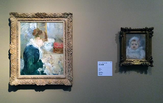 画像: 左:ベルト・モリゾ《縫い物をする女性》 1879年頃 油彩、カンヴァス、オルブライト=ノックス美術館蔵 右:ベルト・モリゾ《赤ん坊の顔》 1872年 パステル、紙、個人蔵 photo©cinefil