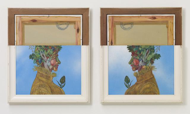 画像: 鈴木慶則  Suzuki Yoshinori(1936- 2010) 「非在のタブロー(アルチンボルトによる) 油彩、木、カンヴァス 53.7×46.2×6cm 2点  1967 所蔵:鎌倉画廊