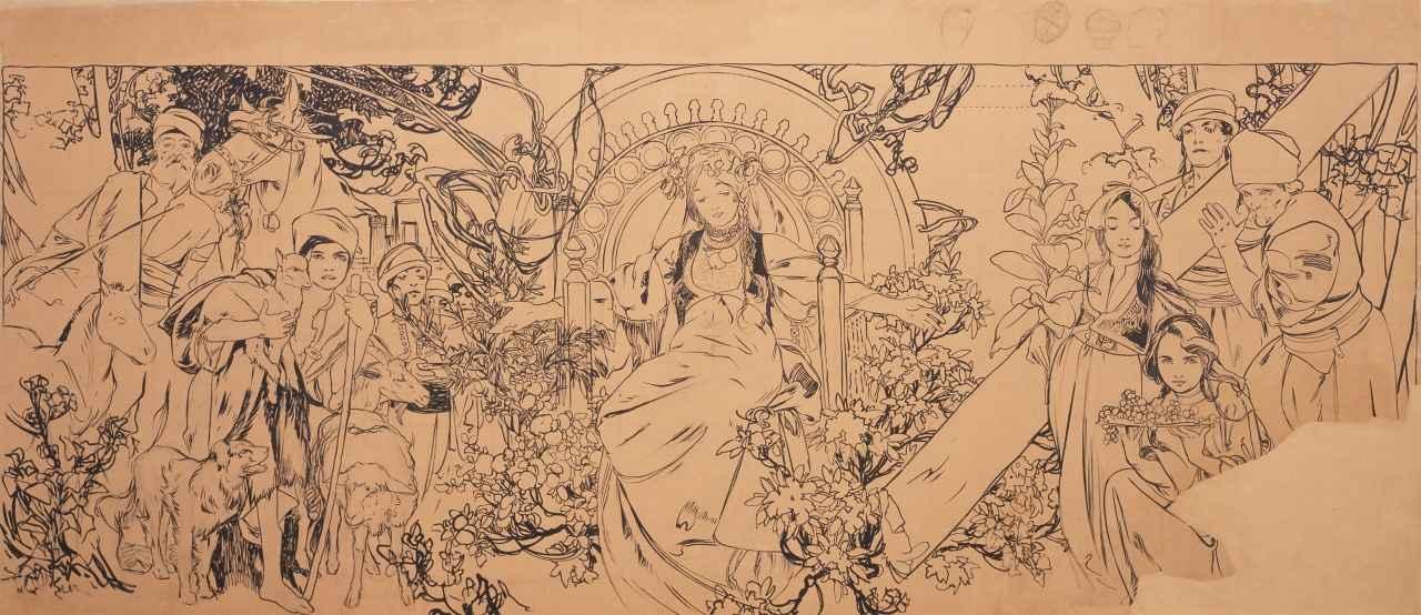 画像: 《1900年パリ万国博覧会 ボスニア・ヘルツェゴヴィナ館壁画》(下絵) 1899-1900年 堺市