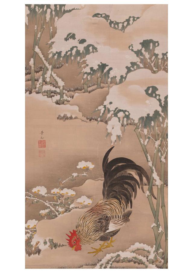 画像: 雪中雄鶏図 細見美術館蔵 (展示期間10/4~11/6)