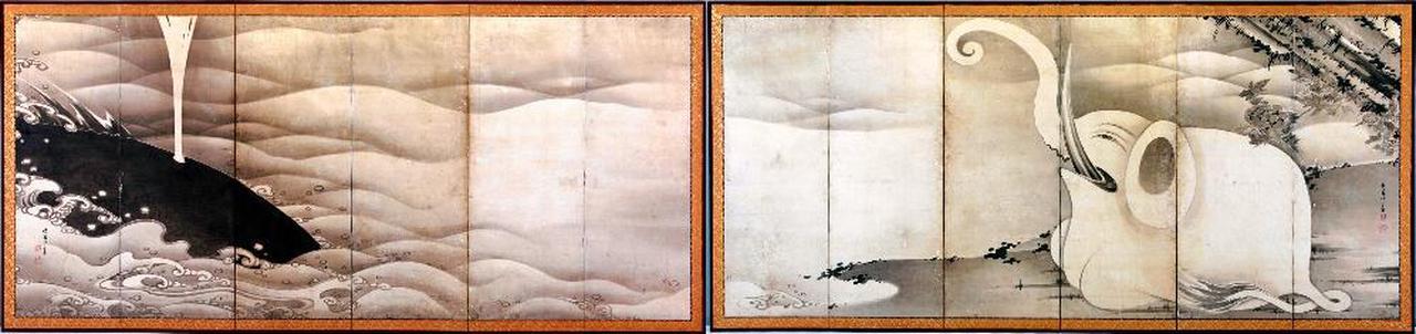 画像: 象と鯨図屏風 MIHO MUSEUM蔵 (展示期間 11/8~11/20)