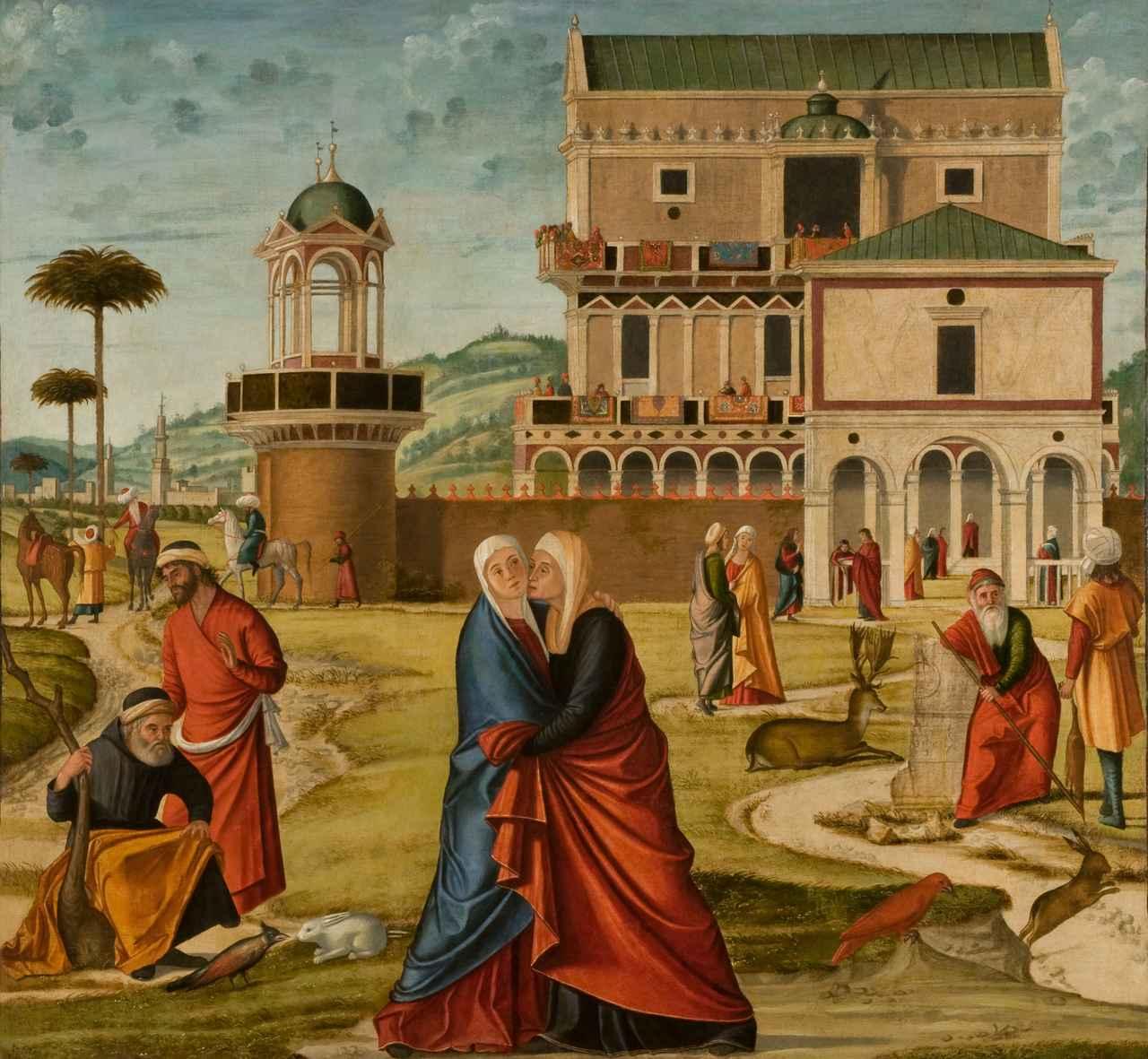 画像: ヴィットーレ・カルパッチョ《聖母マリアのエリサベト訪問》油彩/カンヴァスヴェネツィア、ジョルジョ・フランケッティ美術館(カ・ドーロ)