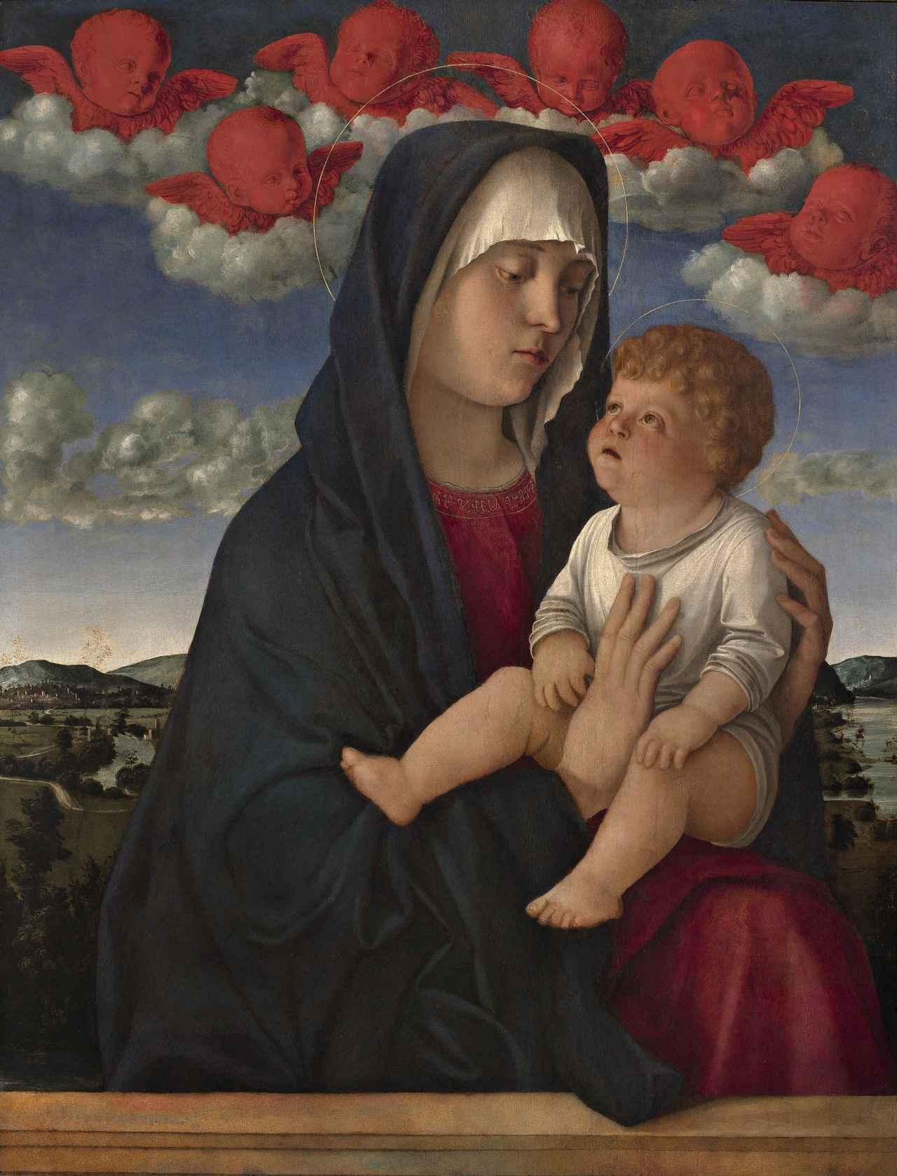 画像: ジョヴァンニ・ベッリーニ 《聖母子(赤い智天使の聖母)》油彩/板