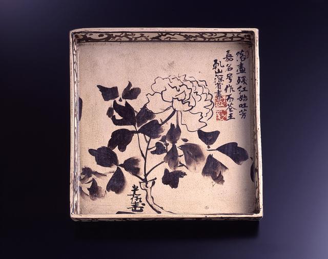画像: 銹絵牡丹図角皿(光琳画) 江戸時代 18世紀 MIHO MUSEUM