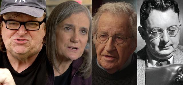 画像: (写真左から)マイケル・ムーア(映画監督)、エイミー・グッドマン(報道番組『デモクラシー・ナウ!』創設者)、ノーム・チョムスキー(マサチューセッツ工科大学名誉教授)、I.F.ストーン(調査報道記者)