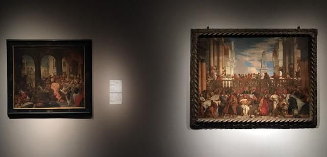 画像: 左:ヴェロネーゼの工房《ベルシャツァル王の饗宴》16世紀末-17世紀初頭、油彩/カンヴァス、106.8×128.1cm、ヴィチェンツァ、キエリカーティ宮絵画館 右:ダル・フリーゾ(本名アルヴィーゼ・ベンファット)《カナの婚礼(ヴェロネーゼに基づく)》1590年頃、油彩/カンヴァス、149x207cm、ヴィチェンツァ、キエリカーティ宮絵画館 photo©cinefil