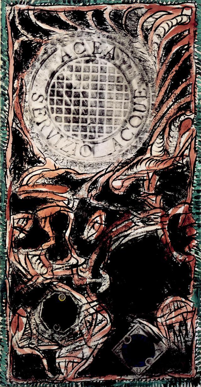 画像: ピエール・アレシンスキー《ローマの網》1989年 インク・アクリル絵具、拓本、キャンバスで裏打ちした紙 作家蔵 © Pierre Alechinsky, 2016