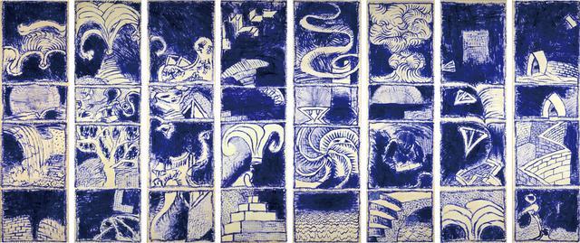 画像: ピエール・アレシンスキー《ボキャブラリーⅠ-Ⅷ》1986年 アクリル絵具、キャンバスで裏打ちした紙 作家蔵 © Pierre Alechinsky, 2016