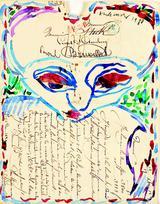 画像: ピエール・アレシンスキー《あなたの従僕》1980年 水彩、郵便物(1829年12月17日の消印) ベルギー王立美術館蔵 © Royal Museums of Fine Arts of Belgium, Brussels / photo: J. Geleyns - Ro scan © Pierre Alechinsky, 2016