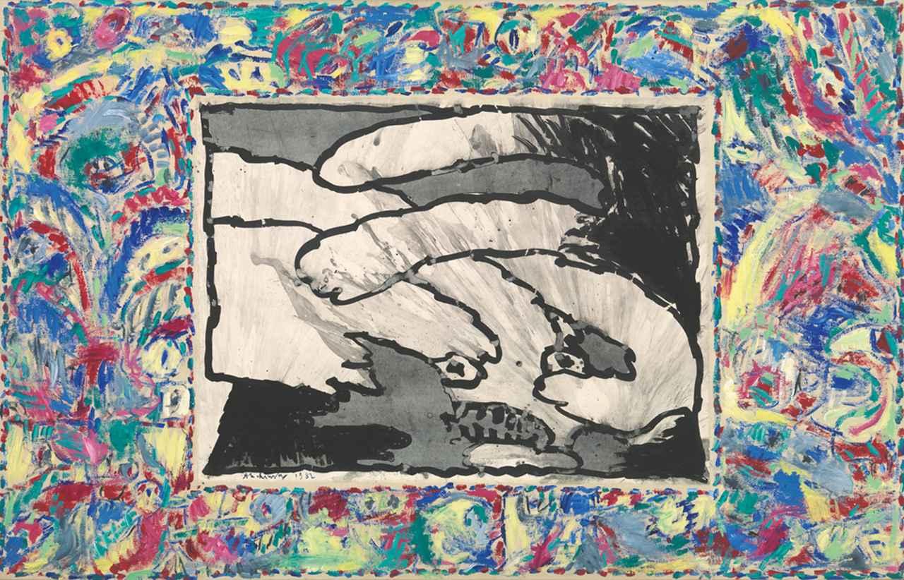 画像: ピエール・アレシンスキー《至る所から》1982年 インク / アクリル絵具、キャンバスで裏打ちした紙 ベルギー王立美術館蔵 © Royal Museums of Fine Arts of Belgium, Brussels / photo: J. Geleyns - Ro scan © Pierre Alechinsky, 2016