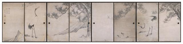 画像: 〔重要文化財〕鹿苑寺大書院旧障壁画 松鶴図襖絵