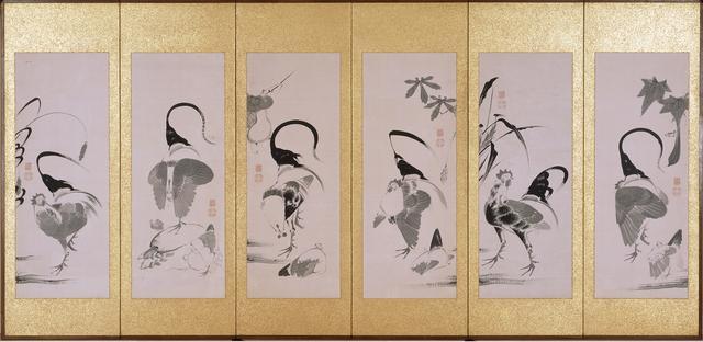 画像: 群鶏蔬菜図押絵貼屏風 六曲一双(左隻)
