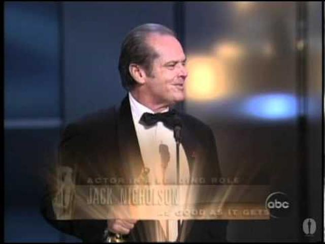 "画像: Jack Nicholson winning an Oscar® for ""As Good as it Gets"" youtu.be"