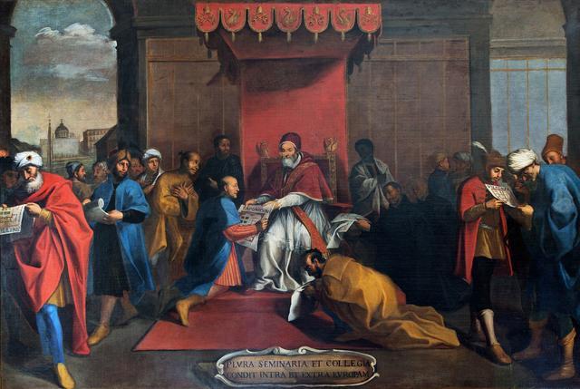 画像: ローマの画家《ヨーロッパ内外にセミナリオを設立するグレゴリウス13世》16世紀末-17世紀初頭グレゴリアン大学