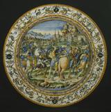 画像: ウルビーノ窯、パタナッツィ工房《市民を救うカエサル》が描かれた大皿 1580–90年頃バルジェッロ美術館© Gabinetto Fotografico delle Gallerie degli Uffizi