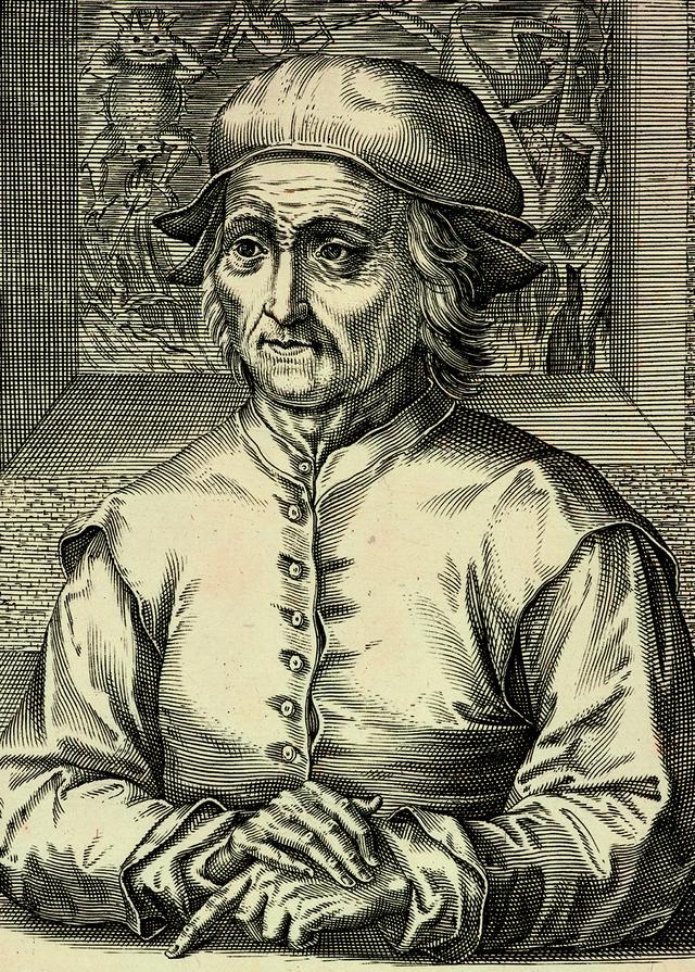 画像: ヘンドリック・ホンディウス1世 「ヒエロニムス・ボスの肖像」(部分) 1610年 エングレーヴィング Museum BVB, Rotterdam, the Netherlands