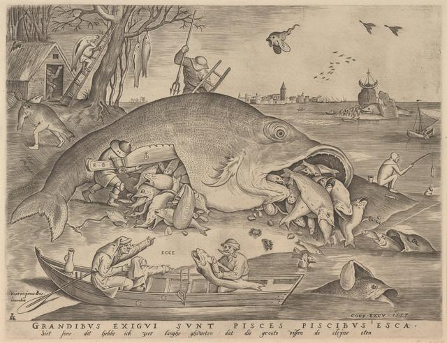 画像: ピーテル・ブリューゲル1世、彫版:ピーテル・ファン・デル・ヘイデン 「大きな魚は小さな魚を食う」 1557年 エングレーヴィング Museum BVB, Rotterdam, the Netherlands