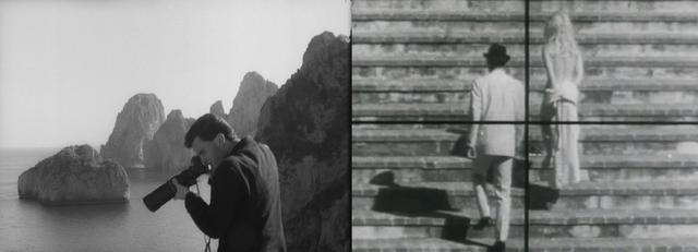 画像: 崖の上から特ダネ写真を狙うパパラッツィ。標的になるバルドーとミシェル・ピコリ。