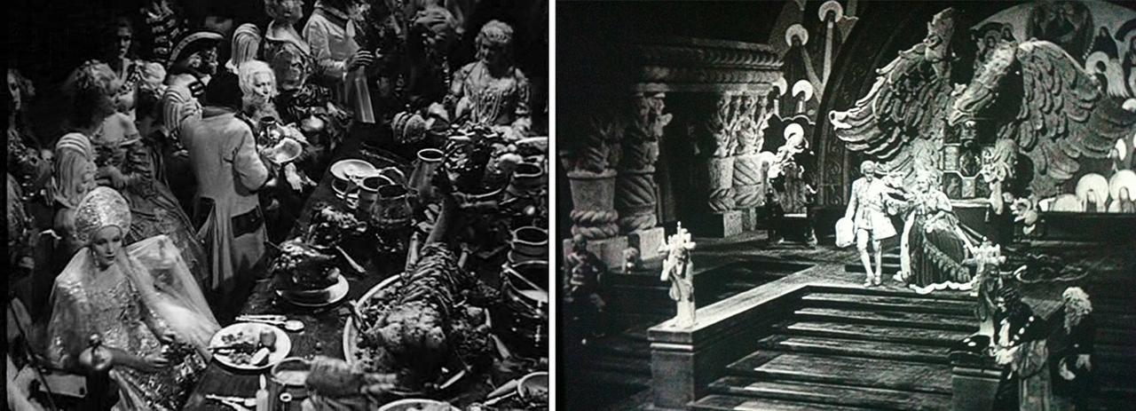 画像: 左は食卓のシーン。右はエリザヴェータ女帝の玉座の背後の鷲のような巨大な造形物。すべてが巨大だ。