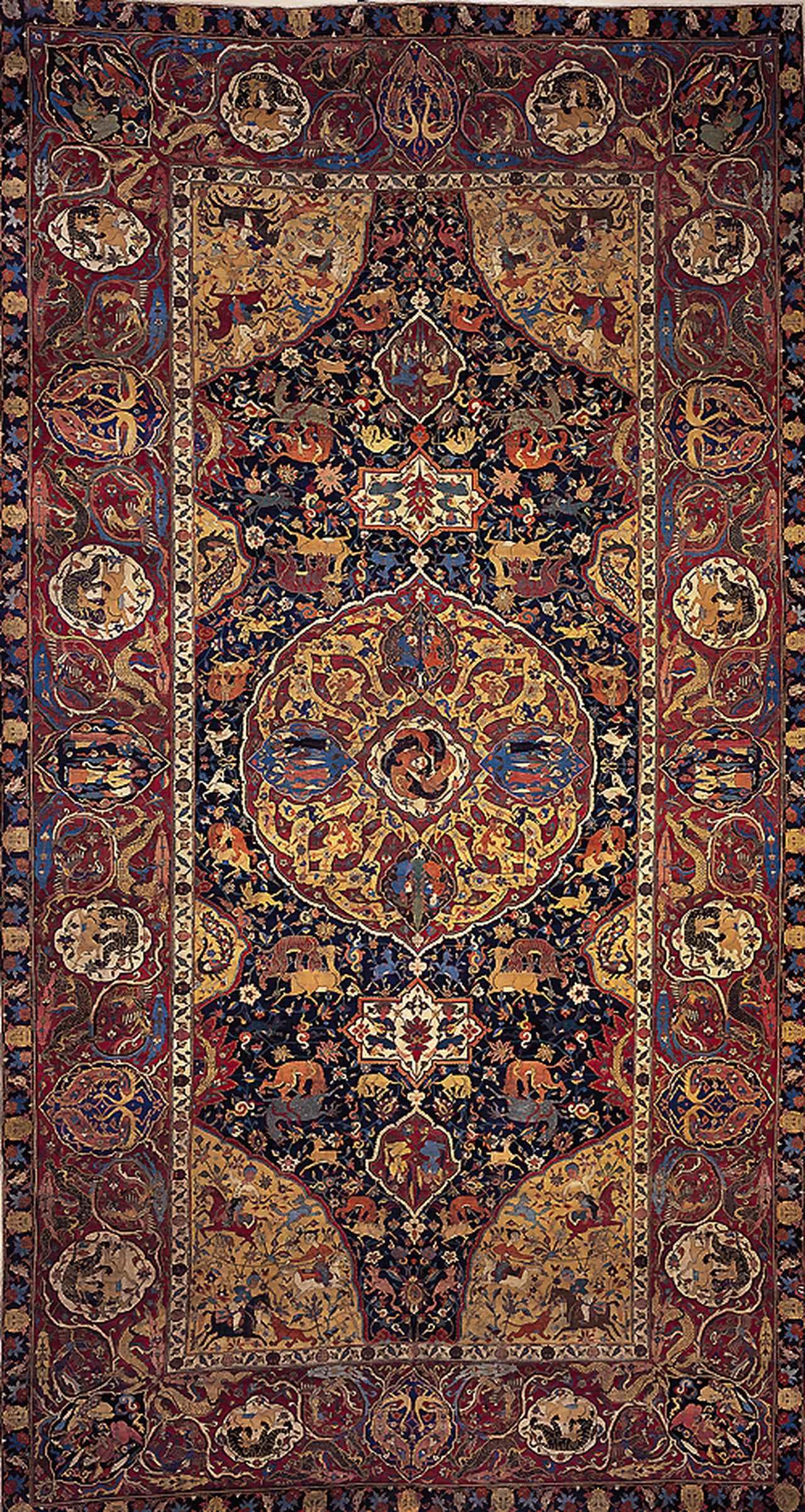 画像: 「メダイヨン・動物文絨毯(サングスコ・カーペット)」 (めだいよんどうぶつもんじゅうたん) イラン ケルマーン サファヴィー朝時代 16世紀末期-17世紀初期 羊毛、綿 縦594.3 横320.0cm