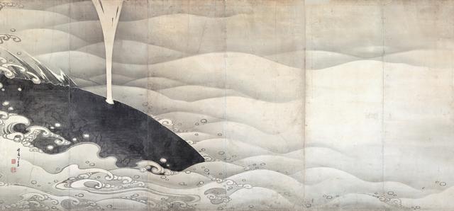 画像: 若冲筆「象と鯨図屏風」(ぞうとくじらずびょうぶ) 江戸時代 寛政七年(1795)左隻 紙本墨画 六曲一双 縦159.4 横354.0cm展示:9/16~10/9