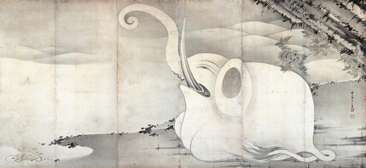 画像: 若冲筆「象と鯨図屏風」(ぞうとくじらずびょうぶ) 江戸時代 寛政七年(1795)右隻 紙本墨画 六曲一双  縦159.4 横354.0cm展示:9/16~10/9